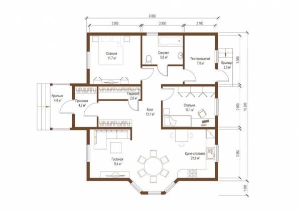 Планировка одноэтажного коттеджа по проекту Бекасово