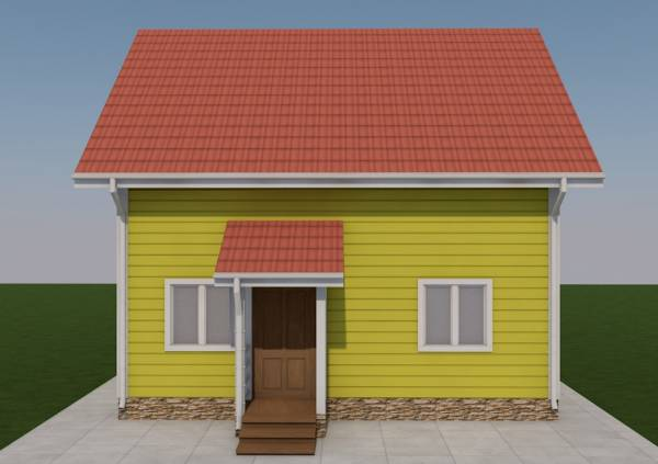 Вид на крыльцо двухэтажного каркасного дачного дома по проекту Борисово