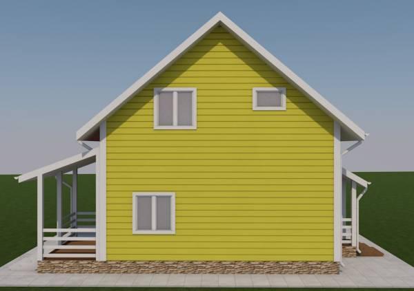 Вид с боку дома по проекту Борисово два этажа дачный дом