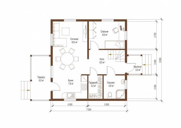 Планировка первого этажа дачного дома проект Борисово