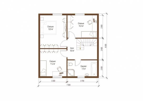 Планировка второго этажа дачного дома по проекту Борисово