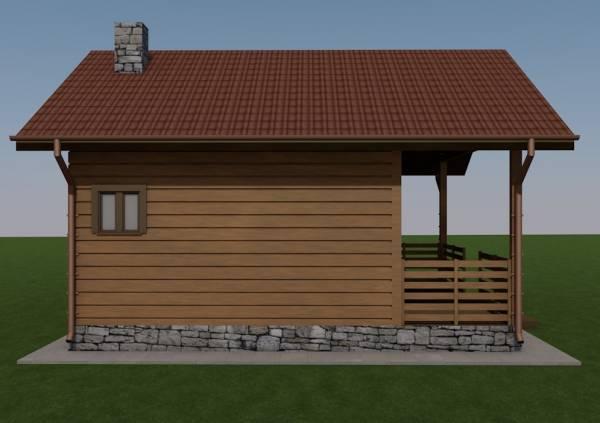 Вид сбоку проекта одноэтажной бани Гридино