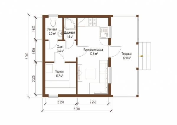 Планировка одноэтажной бани проект Гридино фото