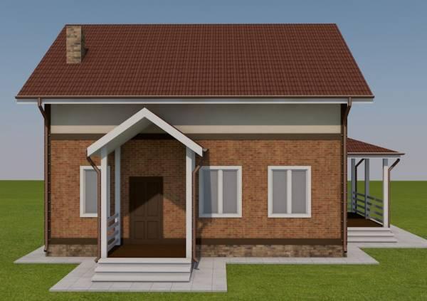 Вид на крыльцо двухэтажного коттеджа по проекту - Бородино