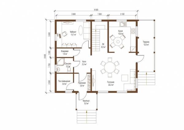 План первого этажа коттеджа проект Бородино смотреть чертеж.