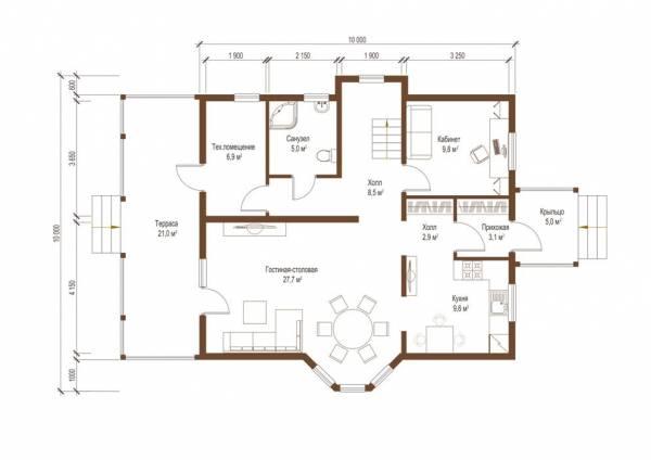Планировка первого этажа коттеджа Тверь