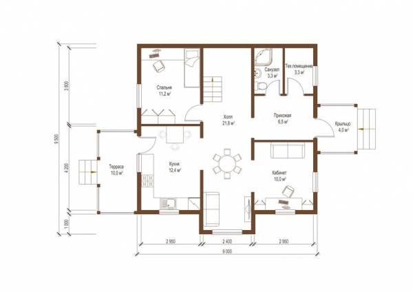 Планировка первого этажа коттеджа по проекту Тула