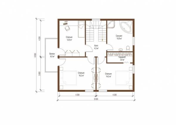 Планировка второго этажа по проекту Тула