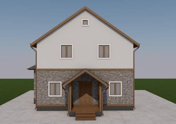 Крыльцо для двух этажного коттеджа по проекту Тула под ключ
