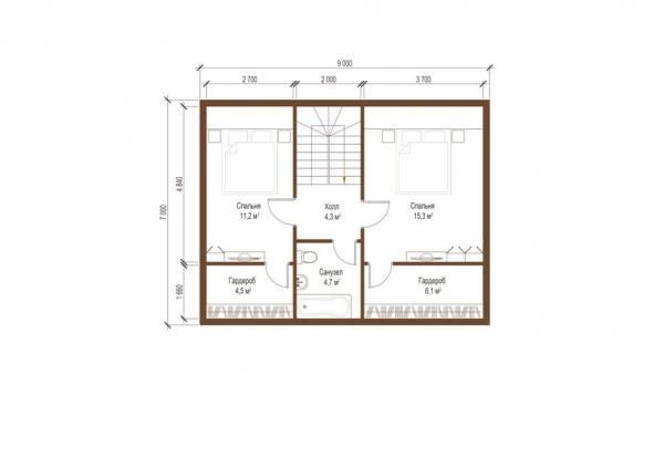 Планировка второго этаджа проекта коттеджа Рязань