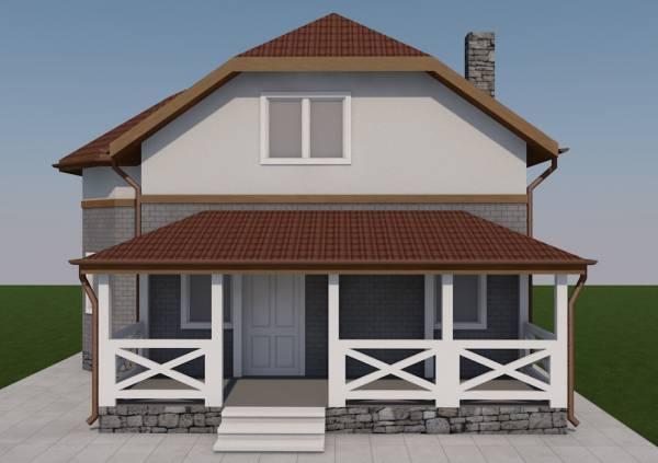 Вид на террасу коттеджа по проекту Рязань