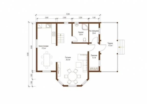 Планировка первого этажа проекта коттеджа Рязань