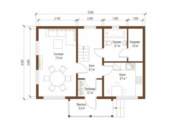 Планировка первого этажа дачного дома Вологда