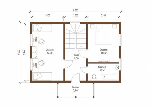 Планировка второго этажа дачного дома по проекту Вологда