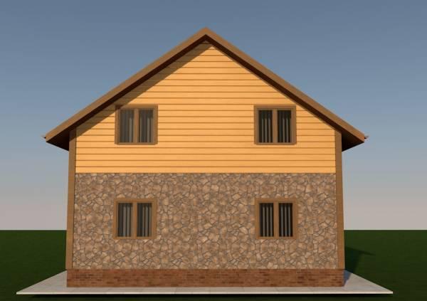 Задний фасад дома по проекту Воскресенск