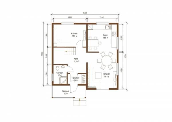 Планы первого этажа двух этажного проекта дачного дома Дедовск