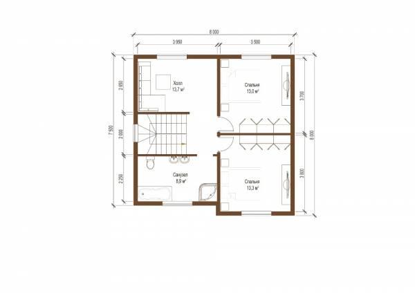 Планы второго этажа двух этажного проекта дачного дома Дедовск