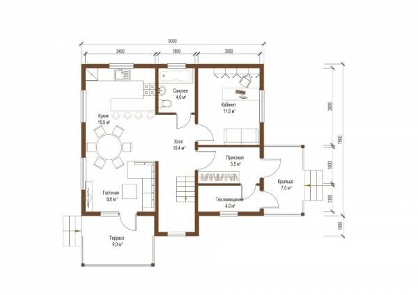 План первого этажа коттеджа 8х9 проект Дубна