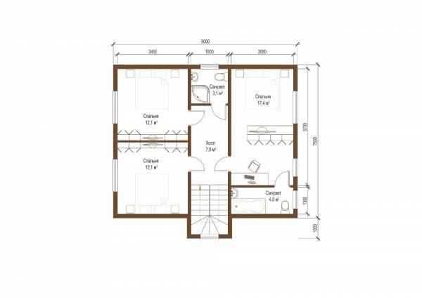 План второго этажа коттеджа 8х9 проект Дубна