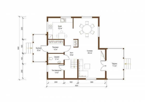 Планировка первого этажа проекта коттеджа Долгопрудный 8 на 9 метров