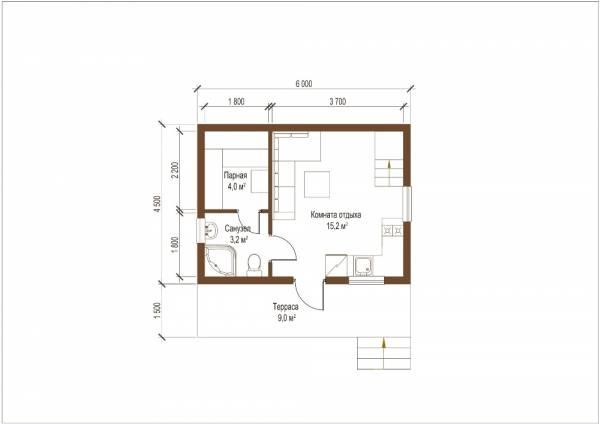 Планировка проекта небольшой бани по проекту Богородское