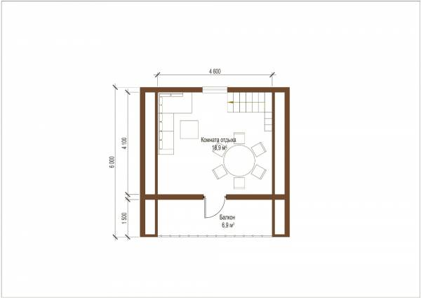 Второй этаж небольшой бани проекта Богородское двухэтажная баня