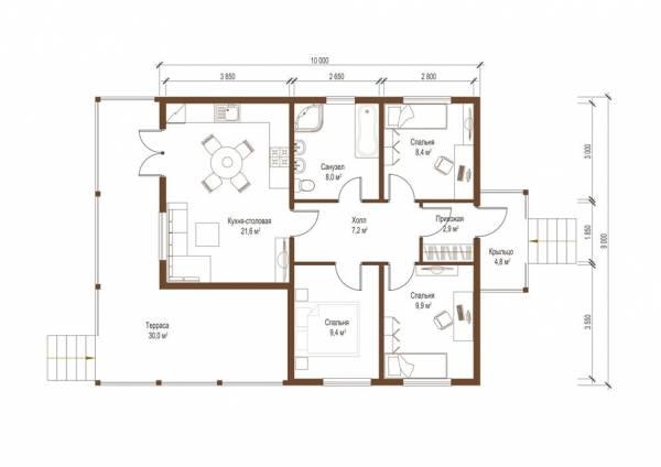 Планировка одноэтажного дачного дома по проекту Серпухов