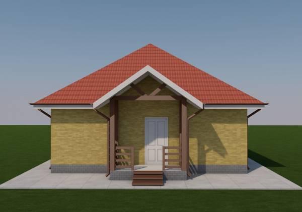 Вид на крыльцо одноэтажного дома по проекту Серпухов