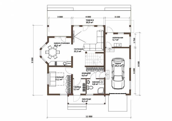 Планировка первого этажа коттеджа по проекту Романцево