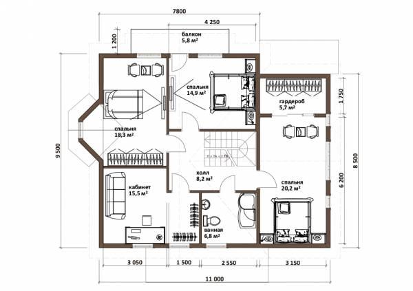 Планировка второго этажа коттеджа по проекту Романцево