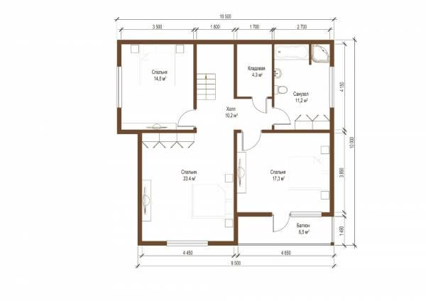 Планировка второго этажа проекта 10 на 10 метров Видное