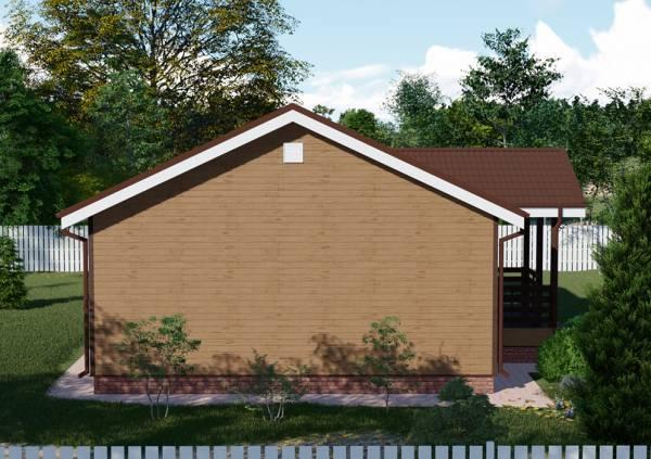 Фасад одноэтажного дачного дома по проекту Жуковский размер 8 на 11 метров