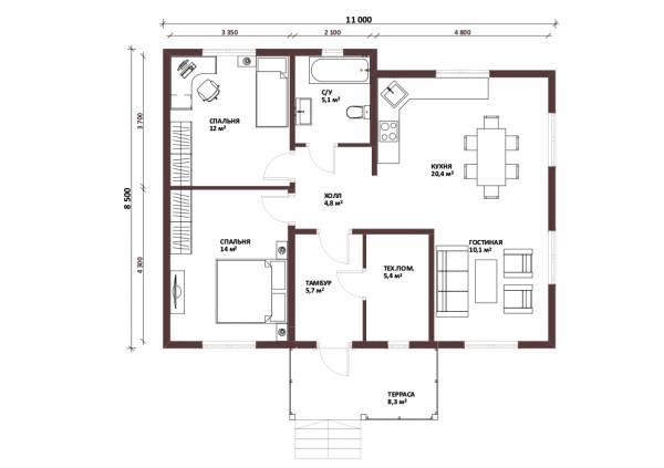 Планировка одноэтажного дачного дома по проекту Жуковский размер 8 на 11 метров