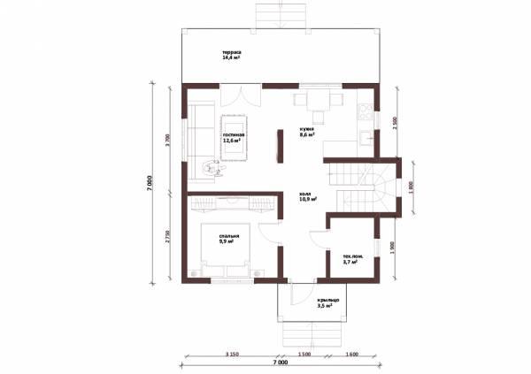 Планировка первого этажа проекта Балашиха