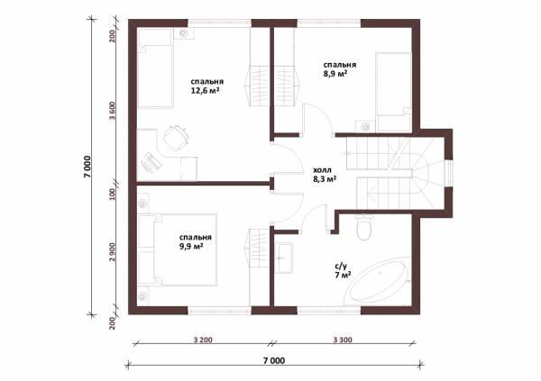 Планировка второго этажа проекта Балашиха