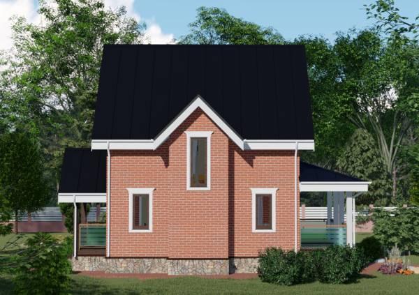 Фасад дачного дома проект Балашиха размер 7 на 8 метров