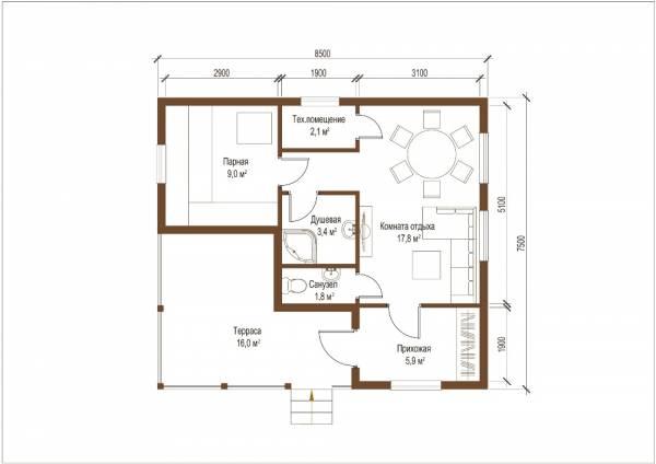 Планировка - чертеж первого этажа баня по проекту Голицыно