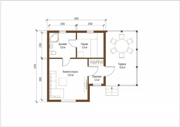 Планировка - чертеж первого этажа баня по проекту Коломна маленькая баня