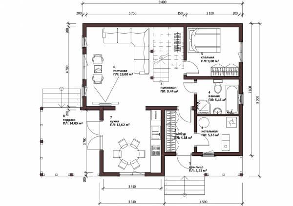Первый этаж дачного дома Реутов проект и чертежи