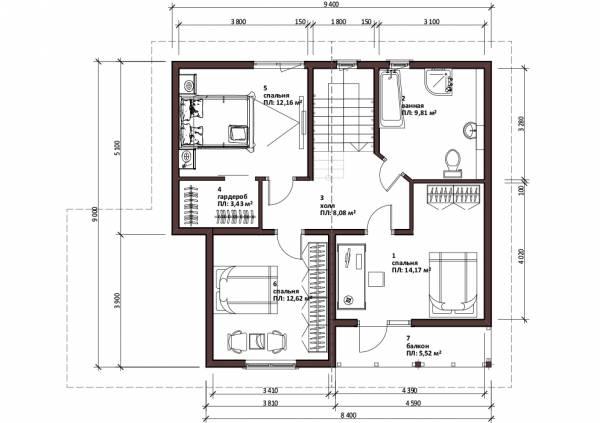 Второй этаж дачного дома Реутов планировка и чертеж второго этажа