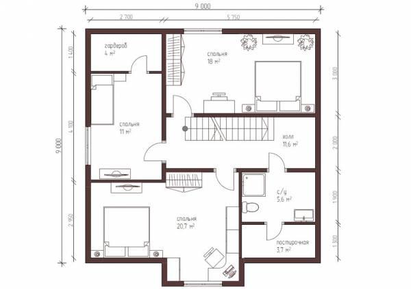 Планировка второго этажа коттеджа по проекту Луховицы