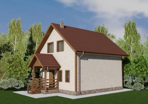 Основной вид двух этажного дома по проекту Волоколамск