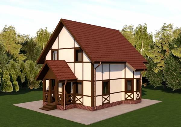 Основной вид дачного дома по проекту Ступино