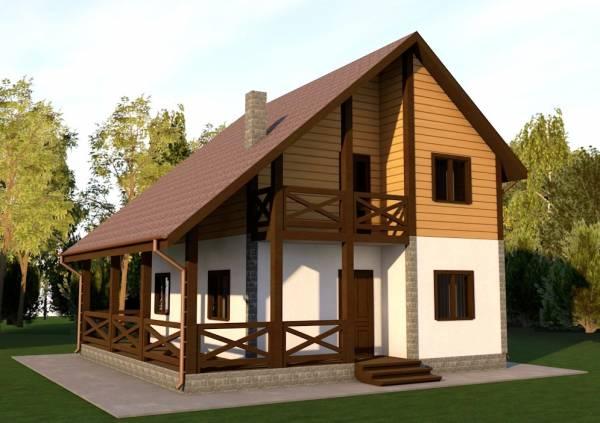 Основной вид двух этажного коттеджа по проекту Гаврилов