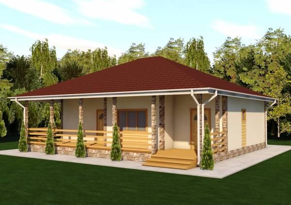 Одноэтажный дачный дом проект Спутник