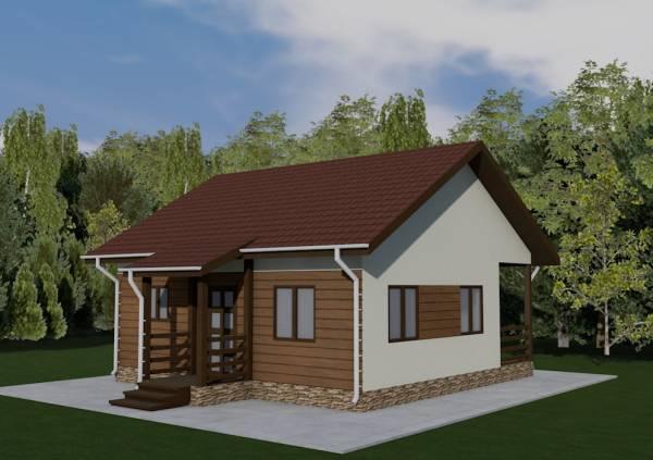 Основной внешний вид дачного одноэтажного дома  по проекту Алабино
