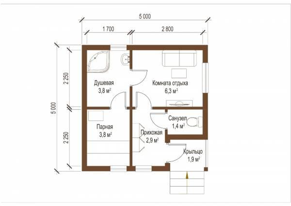Планировка бани размер 5 на 5 проект Демихово