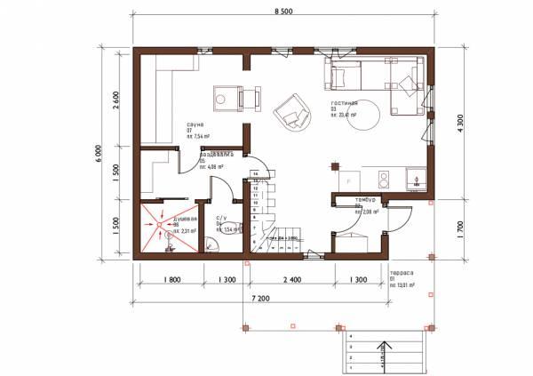 Планировка первого этажа бани по проекту Барыбино
