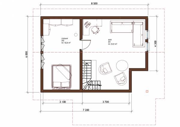 Планировка второго этажа бани по проекту Барыбино