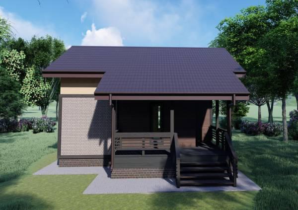 Вид сбоку фото проекта двухэтажной бани Барыбино